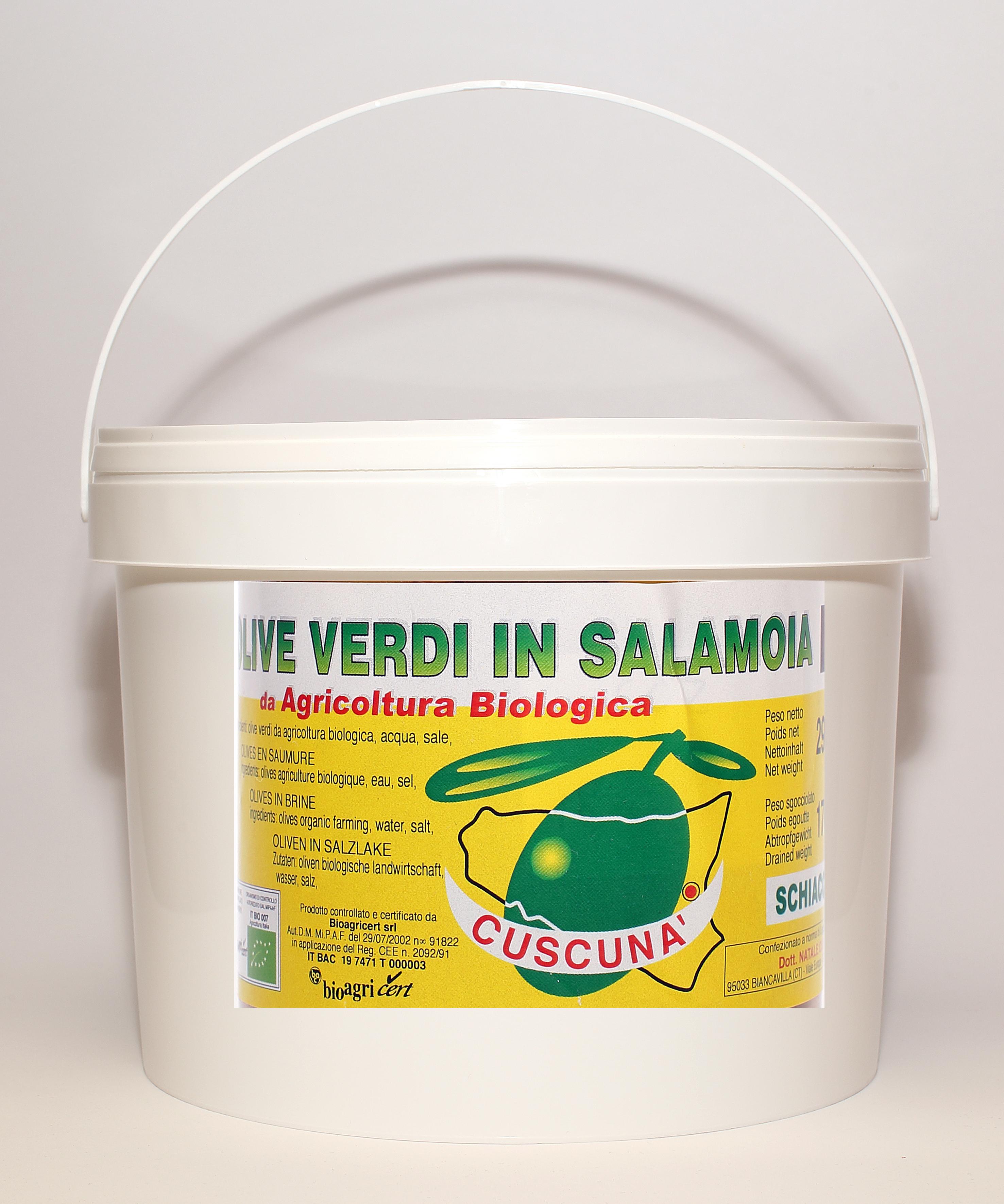 Secchiello Olive verdi intere